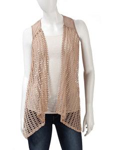 Heart Soul Light Brown Crochet Knit Vest
