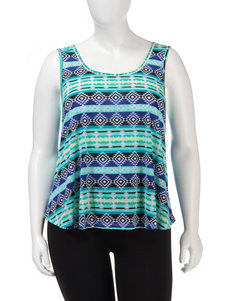 Ultra Flirt Aqua Aztec Striped Tank Top – Juniors Plus