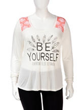 Spoiled Be Yourself Screen Print Top – Juniors Plus