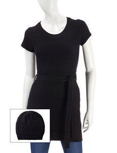 Made for Me to Look Amazing Solid Color Belted Sweater Dress with Beanie