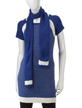 Made For Me To Look Amazing 2-pc. Wild Blue Sweater Tunic & Scarf