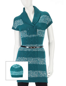 Made For Me To Look Amazing 2-pc. Shawl Striped Button Tunic & Beenie Set