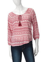 Derek Heart Boho Tassel Striped Top