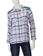 Derek Heart Plaid Front Denim Back Top