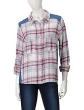 Derek Heart Berry Plaid Front Denim Back Top