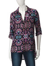 Derek Heart Abstract Print Side Split Top