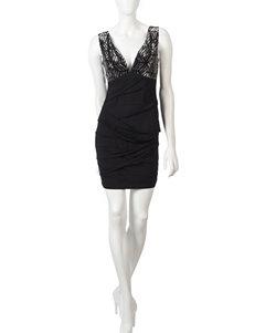 Trixxi Silver & Black Deep V Sequin Dress