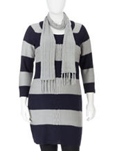 Extra Touch Ragalan Striped Sweater Tunic & Scarf