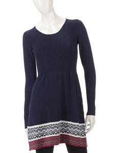 Ultra Flirt Ribbed Boarder Print Fit & Flare Dress