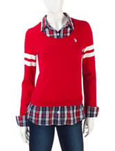 U.S. Polo Assn. Varsity Striped Layered-Look Top