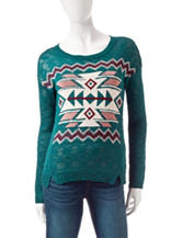 Pink Rose Teal Aztec Print Piontelle Sweater