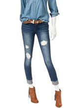 Wishful Park Rollup Cuffs Distressed Braided Belt Jeans