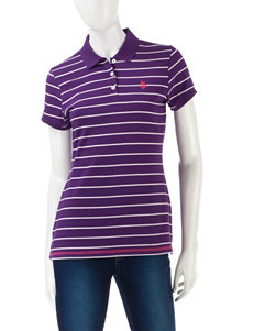 U.S. Polo Assn. Little Pony Purple Striped Polo Top