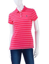 U.S. Polo Assn. Little Pony Striped Pink Polo Top