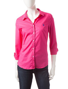 U.S. Polo Assn. Solid Pink Woven Top