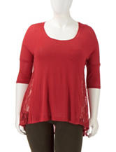 Love Squared Junior Plus Side Lace Woven Top