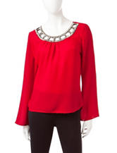 Heart Soul Red Bead Embellished Lattice Top