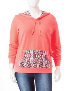 Liberty Love Junior-Plus Coral Aztec Print Hoodie