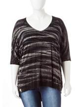 Liberty Love Plus-size Black Tie-Dye Knit Top