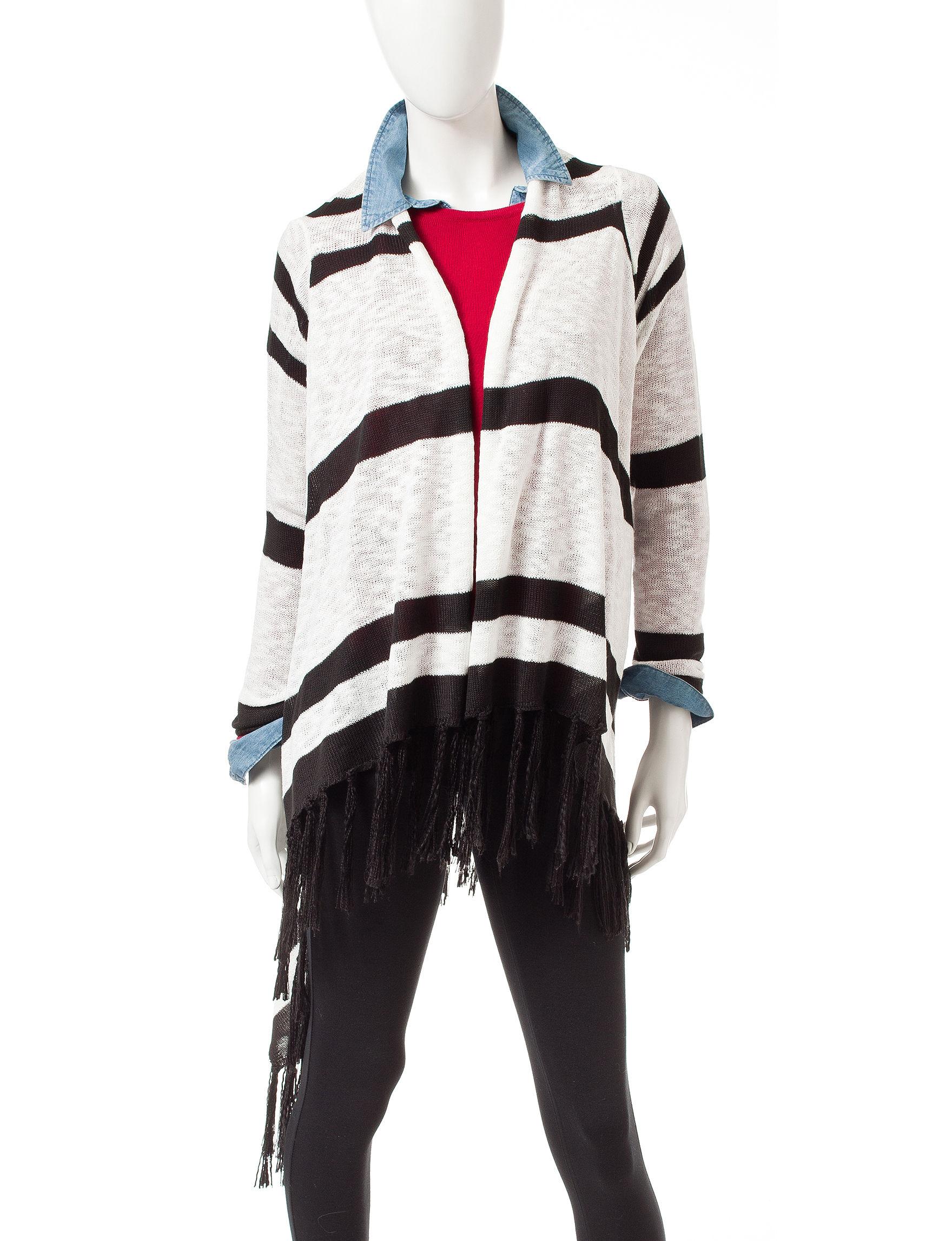 Heart Soul White / Black Cardigans Sweaters