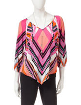Heart Soul Multicolor Scarf Top With Necklace