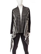 My Michelle Black & White Aztec Cascading Cardigan