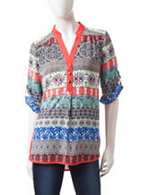 My Michelle Coral Multicolor Medallion Print Top