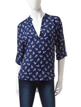 Wishful Park Navy & White Anchor Print Top