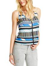 Jessica Simpson Black & Blue Striped Print Madison Tank Top