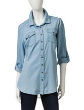 Mark Edwards Light Blue Chambray Lace Top