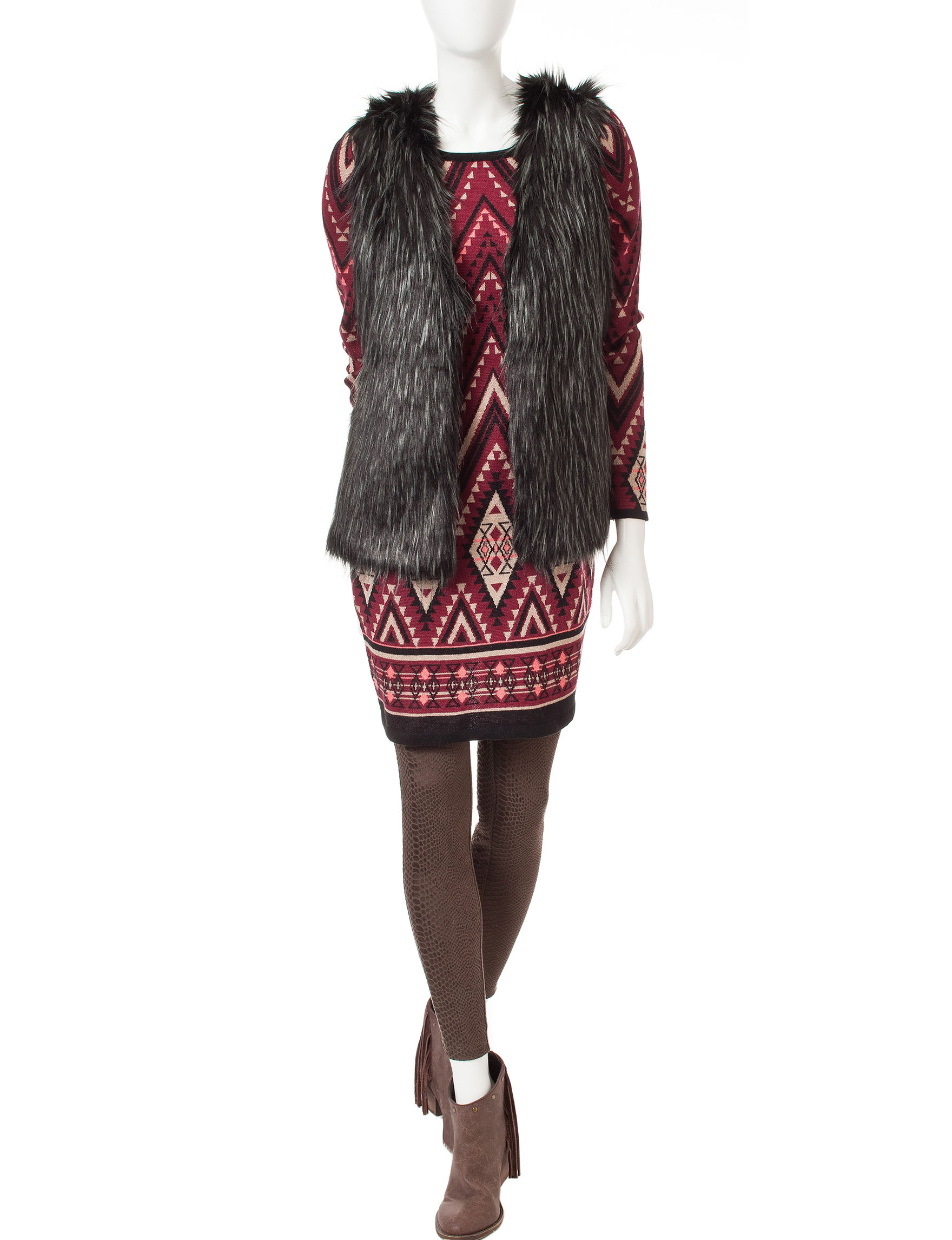 Romeo + Juliet Couture Burgundy Sweater Dresses
