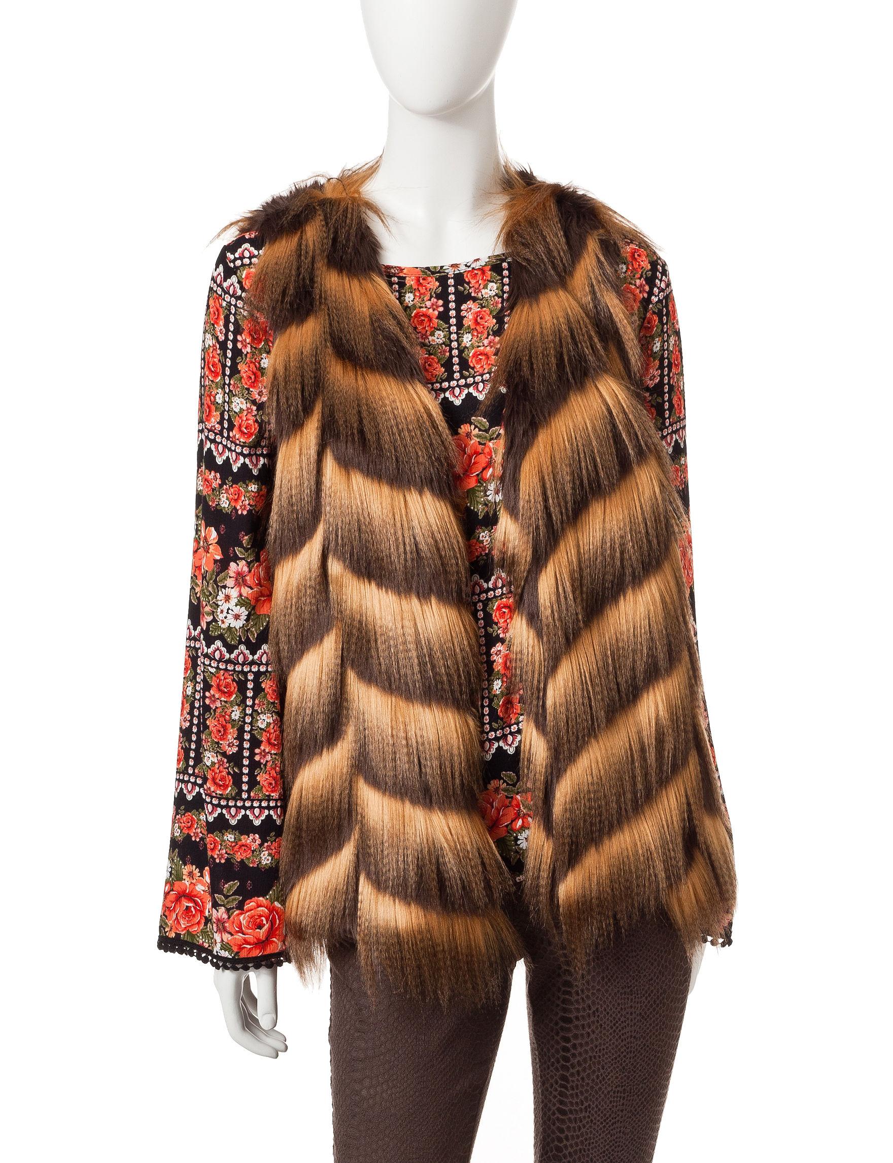 Romeo + Juliet Couture Brown Multi Vests