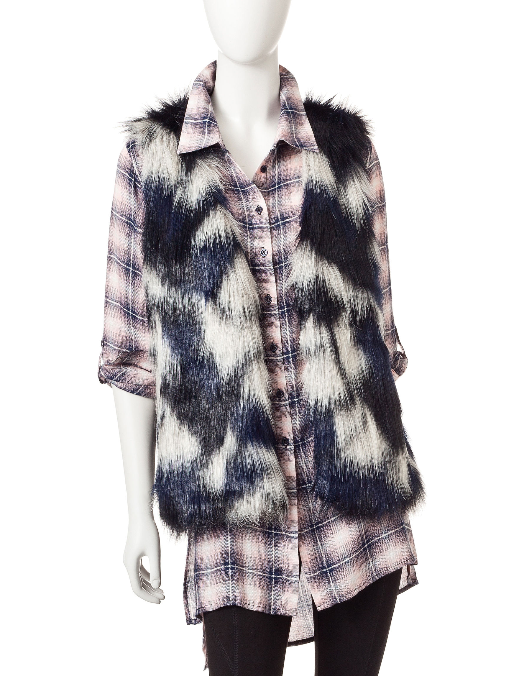 Romeo + Juliet Couture Blue Multi Vests