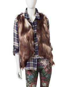 Romeo + Juliet Couture Brown & White Sharkbite Hem Faux Fur Vest