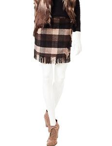 Romeo + Juliet  Couture Plaid Fringe Trim Skirt