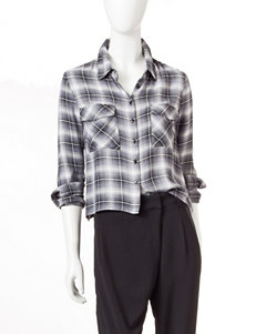 Romeo + Juliet Couture Black Plaid Shirts & Blouses