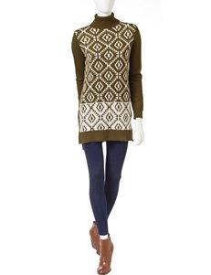 Romeo + Juliet Couture Olive / Cream Sweater Dresses