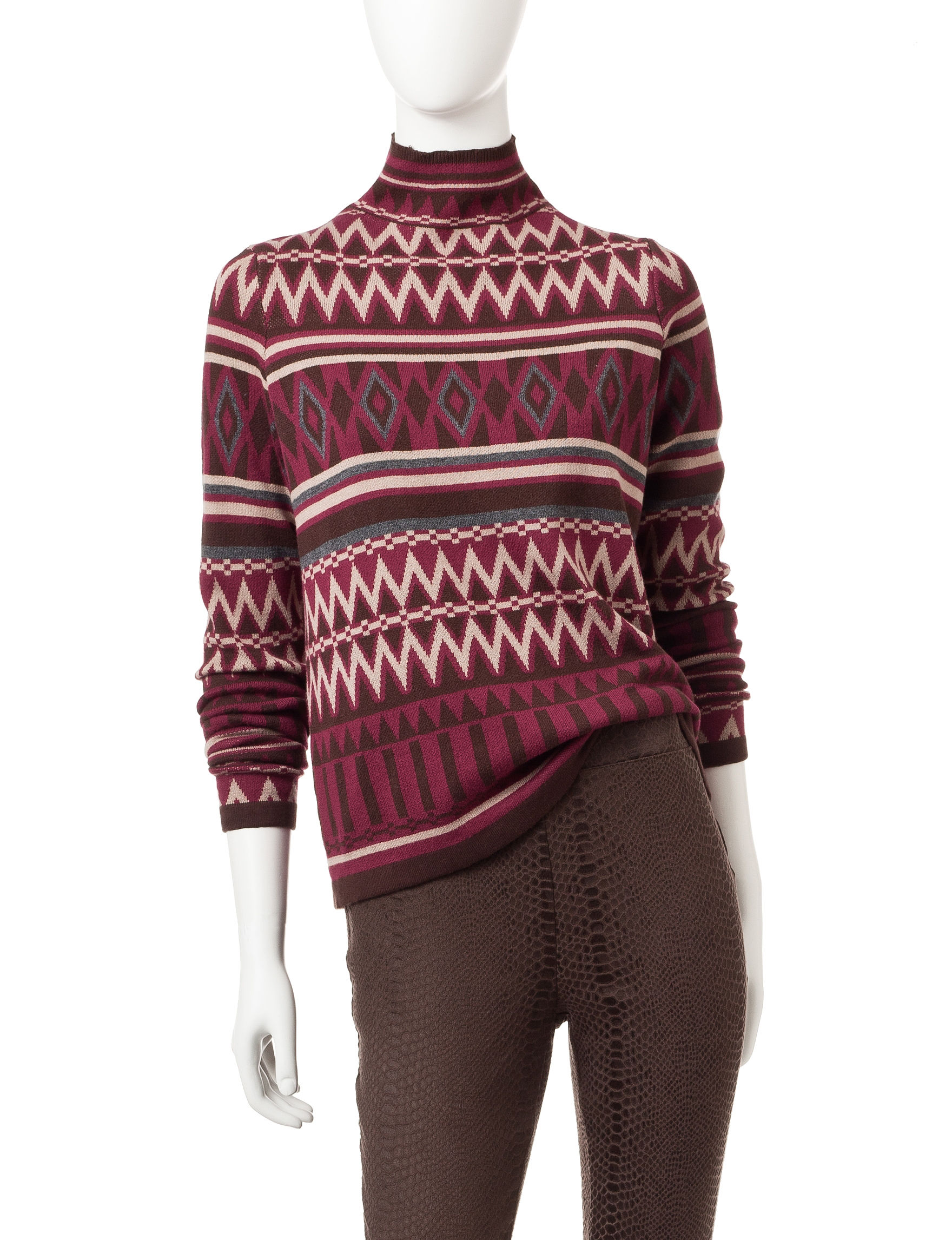 Romeo + Juliet Couture Burgundy Multi Sweaters