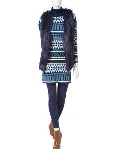 Romeo + Juliet Couture Blue Multi Sweater Dresses