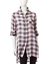 Romeo + Juliet Couture Plaid Woven Tunic Top