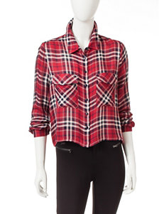 Romeo + Juliet Couture Red Plaid Shirts & Blouses