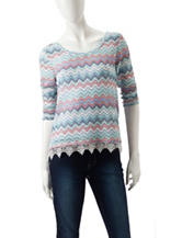 Almost Famous Multicolored Zigzag Crochet Top