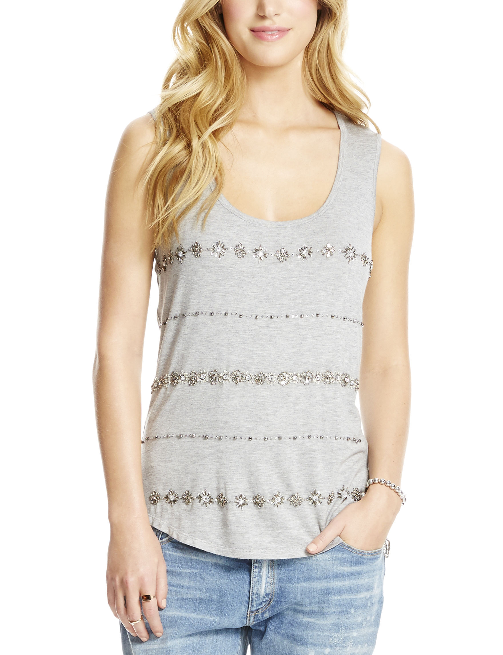 Jessica Simpson Heather Grey Tees & Tanks