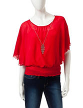A. Byer Red Dolman Chiffon Top with Necklace