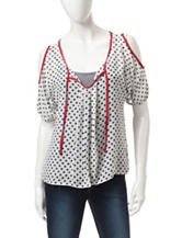 A. Byer Black & White Polka Dot Print Chiffon Top