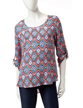 Wishful Park Black, White And Neon Pink Aztec Print Chiffon Top