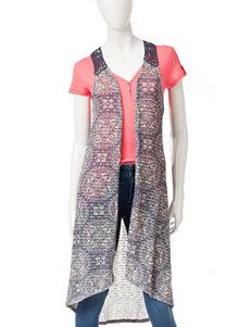 Eyeshadow Medallion Print Crochet Long Length Vest