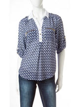 My Michelle Navy & White Triangle Print Top
