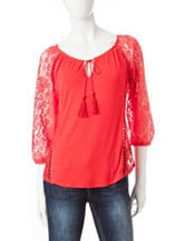 Heart Soul Solid Color Coral Lace Peasant Top