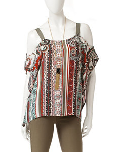 Heart Soul Bohemian Print Top with Necklace